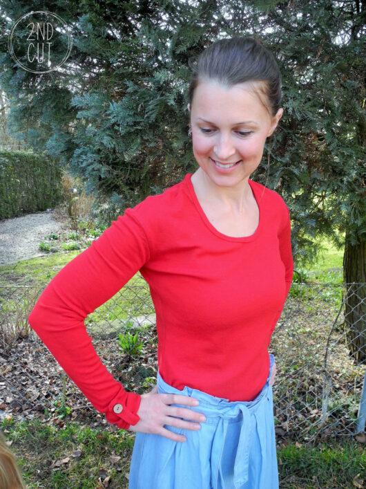 MissKnopf Shirt mit Riegel Wolleseide lange Ärmel